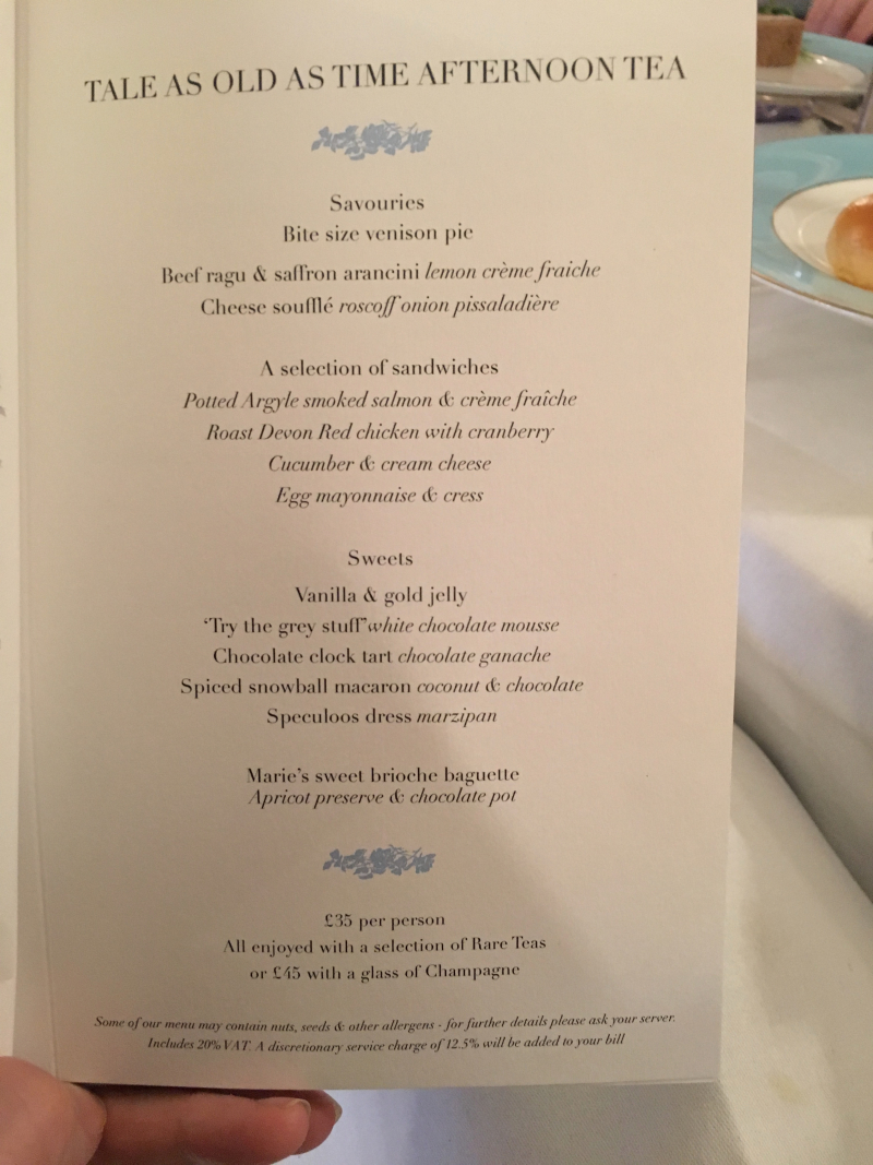 Afternoon tea menu at Kensington Hotel